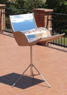"""Solar-powered Barbecue Grill • """"It costs minutes for the barbecue grill to grill or barbeque your food by solar power. It is portable because it has tripod which can be removed and locked. The grill also has tray to hold grease and cooking oil to prevent making the mirror dirty, in addition, the cleaning job is remarkably easy."""" • by catcat"""