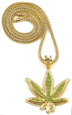 Cannabis Weed Pot Leaf Iced Out GoldGreen Color Pendant Necklace -- Read more reviews of the product by visiting the link on the image.(This is an Amazon affiliate link)