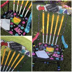 Hand painted rocking chair  Teacher rocking chair https://www.etsy.com/listing/242923742/custom-painted-teacher-chair