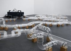 jeroen vaan loon materializes a glass internet filled with smoke signals