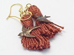 Brown Bird Tassel Earrings with French Ear Wires by lizbethsgarden, $18.00 #handmade