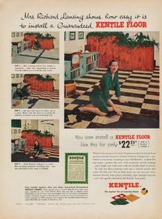 "Description: 1952 KENTILE FLOOR vintage print advertisement ""Mrs. Richard Lansing""-- Mrs. Richard Lansing shows how easy it is to install a Guaranteed Kentile Floor. Kentile ... The Asphalt Tile of Enduring Beauty -- Size: The dimensions of the full-page advertisement are approximately 10.5 inches x 14 inches (27cm x 36cm). Condition: This original vintage full-page advertisement is in Very Good Condition unless otherwise noted ()."