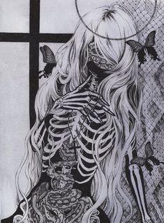 Eden by chaamal Dark Art Illustrations, Dark Art Drawings, Illustration Art, Tattoo Drawings, Tattoos, Cocoppa Wallpaper, Scary Art, Creepy, Skeleton Art
