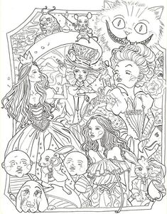 Alice in Wonderland Coloring Pages. Here you will find Alice in Wonderland coloring pictures. The Cheshire Cat, Queen of Hearts, and other figures from Alice in Princess Coloring Pages, Adult Coloring Book Pages, Printable Adult Coloring Pages, Cute Coloring Pages, Cartoon Coloring Pages, Disney Coloring Pages, Animal Coloring Pages, Coloring Pages To Print, Coloring Books