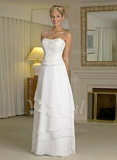 Wedding Dresses - $156.99 - A-Line/Princess Sweetheart Floor-Length Chiffon Satin Wedding Dress With Lace Beading (00205001370)