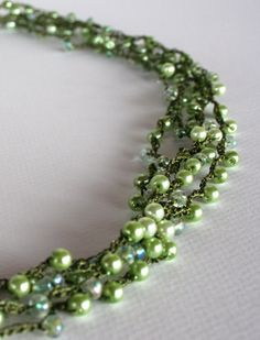 Margarita Green and Olive Beaded Crocheted Necklace by taiche, $22.50