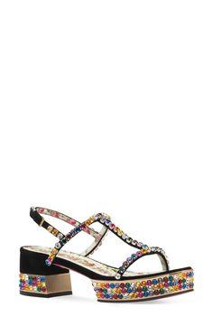 95517ea7778 Gucci Mira Crystal Embellished Platform Sandal (Women) Black Suede