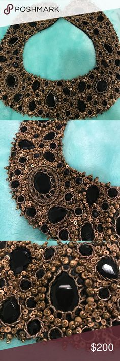 ATELIER AZZA Taylor Gunmetal Collar necklace Gorgeous necklace excellent condition material on the back is 100% silk it is connected by to hook .The piece is hand made beating and gunmetal faceted crystals ,lined with 100% silk fabric . Atelier Azza Jewelry Necklaces