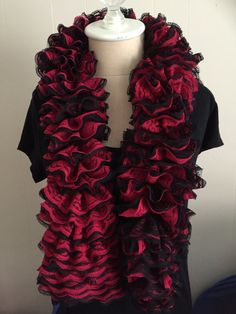 Red and Black lace red heart sassy scarf by Sassychickscarves