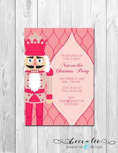 Holiday Party Invitation  Pink Nutcracker  DIY  by BeccaLeePaperie, $13.00