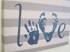 Enjoy adding handprints and footprints on this original, custom, Love keepsake…