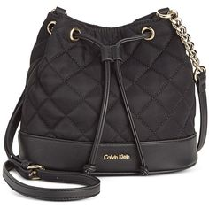 Calvin Klein Dressy Nylon Quilted Crossbody (105 AUD) ❤ liked on Polyvore featuring bags, handbags, shoulder bags, cross-body handbag, nylon drawstring bags, nylon crossbody purse, drawstring crossbody bag and quilted handbags