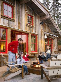 Rustic barn-inspired ski cabin in Sugar Bowl.love the red window frames Barn House Design, Cabin Design, Rustic Design, Rustic Style, Wood Design, Rustic Barn, Rustic Decor, Rustic Chair, Rustic Colors