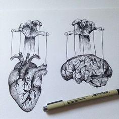 heart & brain puppets #sketch #tattoo #tattoos #inspo