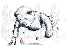Illustration of a broken mechanical teddy