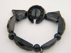 Antique Victorian Carved Onyx? Horseshoe Stretch bracelet