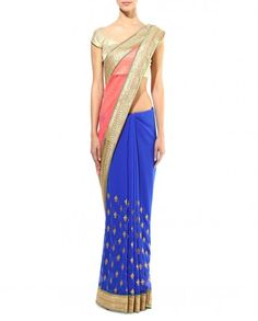 Blue and Pink Sari with Zari Embroidery - Apparel