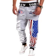 Lace-Up Letters and Flag Print Beam Feet Men's Pants  #usa #america  #flag