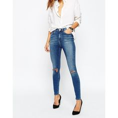 ASOS Ridley High Waist Skinny Jeans in Darmera Mid Stonewash with... ($51) ❤ liked on Polyvore featuring jeans, darmera mid blue, high waisted jeans, skinny jeans, high-waisted jeans, white ripped skinny jeans and distressed skinny jeans
