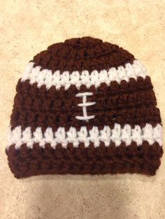 A personal favorite from my Etsy shop https://www.etsy.com/listing/218946949/football-beaniehat-football-hat-football