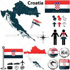 Map of Croatia Vector of Croatia set with detailed country shape with region borders, flags and icons. Package contains: EPS version), JPG pixels, RGB). Created: GraphicsFilesIncluded: VectorEPS Layered: No MinimumAdobeCSVersion: CS Tags: Croatian Croatia Travel, Map Vector, Information Graphics, Digital Portrait, Cartography, Cross Stitch, Flag, Symbols, Croatia