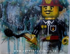 """Guardians of the Green"" by Vernon Fourie Working Man, Mixed Media Canvas, Vernon, Art Director, Men's Collection, Art Studios, Lego, Green, Painting"