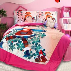 LELVA Cartoon Girl Christmas Gift Sets of Bedding Girls Bedding Set Childrens Bedding Girls Kids Bedding Set Twin Full Queen Size Flat sheet Queen -- Learn more by visiting the image link.