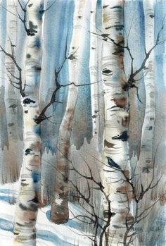 New Daily painting Crow in Winter Aspen Trees lovely 9 X 6 inch ORIGINAL Watercolor  Pamela Wilhelm