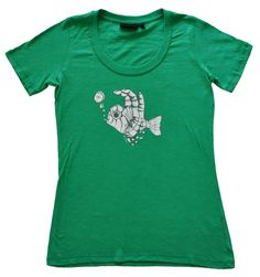 Ladies scuba diving t shirt, fish fingers design in apple green. Hand drawn and hand printed by Sonja in Nelson New Zealand Nelson New Zealand, Fingers Design, Gift Wrapping Services, Fish, Apple, T Shirts For Women, Lady, Tees, Mens Tops