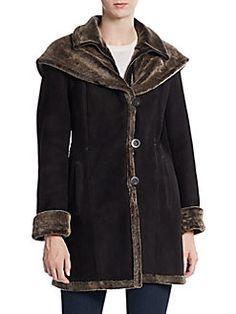 Sheepskin & Shearling Hooded Coat