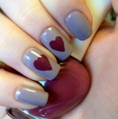 Nude and burgundy nails