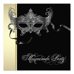 Elegant Black Gold Masquerade Party Invitations 50th Birthday Gifts