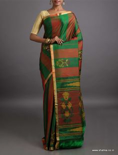 Sampatti Stripes of Color Earthen Pure #MulberrySilkSaree