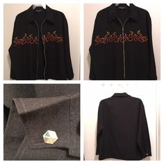 EUC Men's Rockabilly Greaser Johnny Suede Black & Flames Casino Zipper Jacket XL