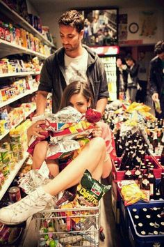Justin and I when we go to the store both hungry... LOL