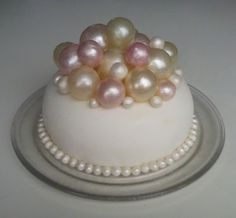 Chocolatecake covered in fondant Decorated with gelatine bubbels