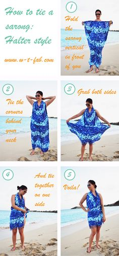 Read in this article the stylish ways to tie a beach sarong step by step. which cover: How to tie a beach sarong. how to wear a beach sarong Different ways to Sarong Dress, Sarong Wrap, Sarong Tying, Diy Vetement, Beach Wrap, Diy Fashion, Fashion Tips, 1950s Fashion, Gothic Fashion