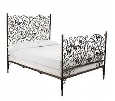 ornate scroll metal bed would compliment simple linens - Black Bed Frames
