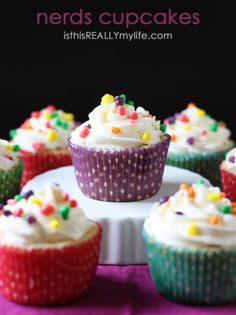 Nerds cupcakes -- delicious vanilla cupcake sprinkled with Nerds candy and topped with vanilla frosting Nerd Cupcakes, Cookies Cupcakes And Cardio, Baking Cupcakes, Cupcake Recipes, Cupcake Day, Cupcake Cakes, Mini Cakes, Nerds Candy, Sweet Tooth