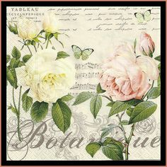 4 Decoupage Paper Napkins - Roses - Use For Decoupage, Mixed Media, Scrapbooking, Collage And Altered Art Projects