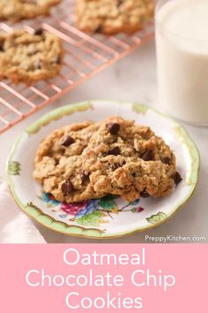 These delicious oatmeal chocolate chip cookies from Preppy Kitchen have JUST the right combination of crisp on the outside, chewy on the inside amazingness and of course big notes of chocolate butter and just the right hit of salt. #oatmealchocolatechipcookies #bestcookies #oatmealchocolatechip