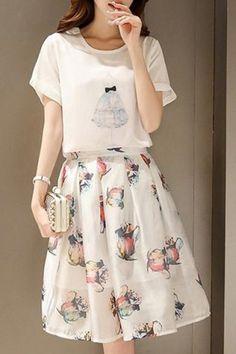 Chic Scoop Neck Short Sleeve T-Shirt + Elastic Waist Floral Print Skirt Women's Twinset