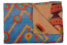 Vintage Kantha Quilt, Wisteria