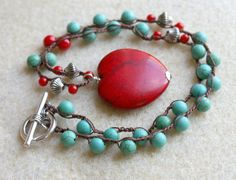 Red and Blue - Green Turquoise Boho Crochet necklace, shabby chic boho, bohemian jewelry, silver, Heart pendant
