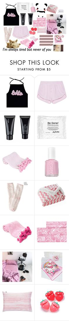 """Lolita sleepwear"" by scream-0-em0 ❤ liked on Polyvore featuring True Religion, NYX, Essie, Aéropostale, Lala + Bash, Aspire Linens, SANRIO and Essenza"
