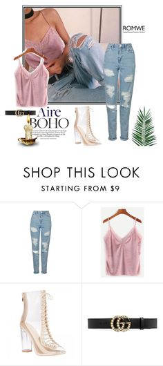 """Pink Lace Velvet Top- ROMWE"" by inesfragosa on Polyvore featuring Topshop, Gucci and Nika"