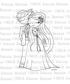 Original illustration digital image of a couple in wedding outfits for use in all your cardmaking & scrapbook projects.    (c)JoannaDavies2013