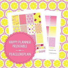 Pink Lemonade MAMBI Happy Planner Printable - Weekly Set, Happy Planner Stickers, PDF Instant Download