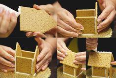 Postres para Navidad: Casitas de galleta y glaseado un paquete de galletas tipo crackers, dos puñados de cereales tipo golden grahams, claseado, golosinas para decorar