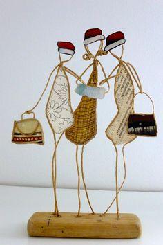 Les amies en hiver - figurines en ficelle et papier